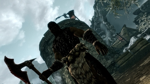 Skyrim: You are caught up with some captured Stormcloaks, you are about to have your head chopped off when a dragon attacks