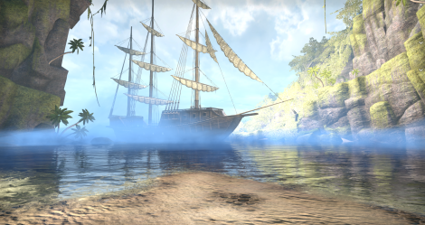 better view of the pirate ship in Blackheart Haven