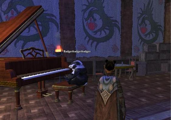 badger playing piano