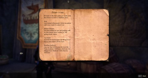 not to do with the quest, but this book really made me laugh